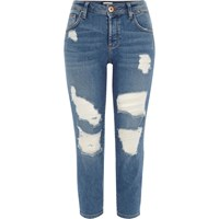 River Island Petite Blue Authentic Ripped Boyfriend Jeans