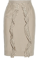 Valentino Polka Dot Silk Pencil Skirt White
