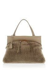 Agnona Joy Calf And Shearling Bag Neutral