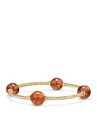 David Yurman Mustique Four Station Bangle Bracelet With Amber In 18K Yellow Gold Orange Gold