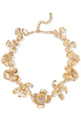 Kenneth Jay Lane Gold Tone Crystal Faux Pearl Necklace One Size