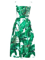Dolce And Gabbana Banana Leaf Print Embellished Dress Green Multi