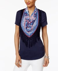 Style And Co Petite T Shirt With Printed Fringe Scarf Only At Macy's Industrial Blue