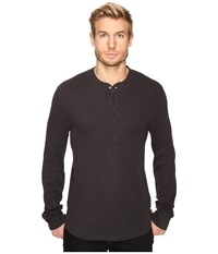 7 For All Mankind Long Sleeve Thermal Henley Heather Grey Men's Clothing Gray