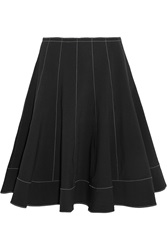 Donna Karan Flared Stretch Canvas Skirt Black