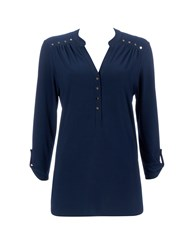 Wallis Navy Collarless Shirt