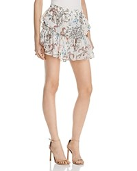 Wayf Freya Floral Ruffle Mini Skirt 100 Exclusive Ivory Patchwork