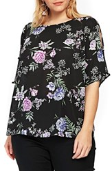 Evans Plus Size Floral Print Bow Back Top