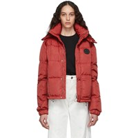 Off White Red Puffer Jacket
