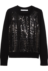 Diane Von Furstenberg Paryse Sequined Wool And Cashmere Blend Sweater Black