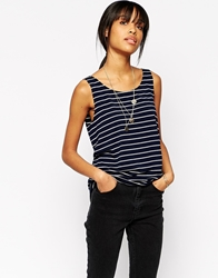 Minimum Sleeveless Striped Tank Top Navy
