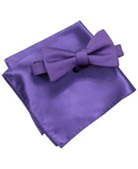 Alfani Men's Purple Pre Tied Bow Tie And Pocket Square Set Only At Macy's Foster Purple