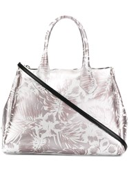 Gum Hawaii Floral Print Large Tote Bag Metallic