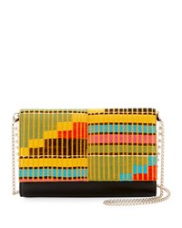 Christian Louboutin Paloma Embroidered Clutch Bag Ivory