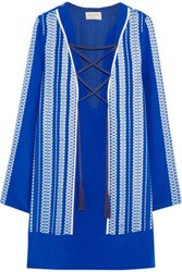 Zeus Dione Thasos Embroidered Silk Satin Mini Dress Royal Blue