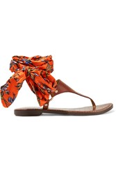 Sam Edelman Giliana Leather And Printed Satin Sandals Brown