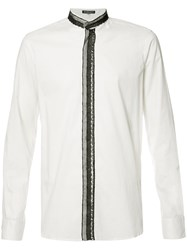 Ann Demeulemeester Lace Trim Shirt White