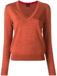 Paul Smith Ps By Deep V Neck Sweater Yellow And Orange