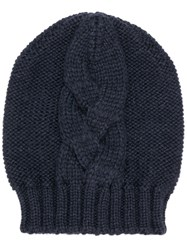 Semicouture Cable Knit Beanie Blue
