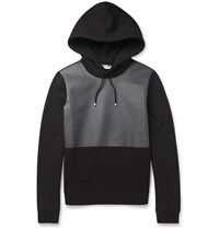 Balenciaga Coated Panel Fleece Back Cotton Jersey Hoodie Black