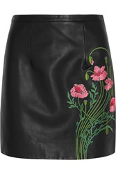 Christopher Kane Floral Embroidered Leather Mini Skirt Black