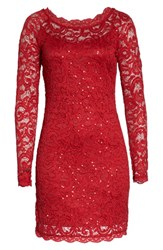 Sequin Hearts Lace Sheath Dress Red