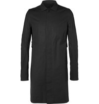 Rick Owens Cotton Blend Trench Coat Black