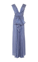 Tome Long Draped Silk Stripe Dress Blue