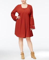 American Rag Trendy Plus Size Babydoll Peasant Dress Only At Macy's Burnt Henna