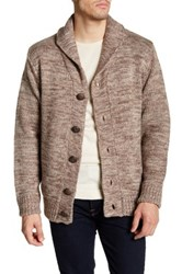 Weatherproof Vintage Faux Shearling Lined Marled Shawl Collar Cardigan Brown