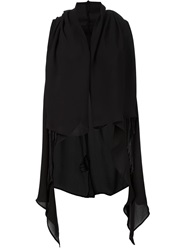Lost And Found Fringed Hooded Tunic Black