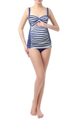 Kimi And Kai Women's 'Abby' Maternity Two Piece Tankini Swimsuit Navy Ivory