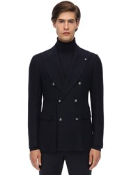 Tagliatore Wool Prince Of Wales Double Jacket Blue