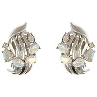 Eclectica Vintage 1950S Trifari Chrome Plated Aurora Borealis Glass Stone Clip On Earrings Silver Pink