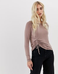 Nytt Sawyer Drawstring Side Long Sleeved Top Oil Wash Taupe Pink