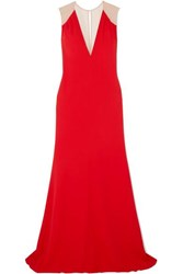 Victoria Beckham Mesh Paneled Cady Gown Red