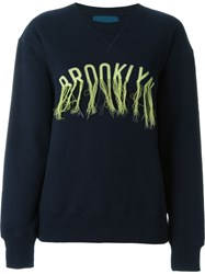 Doublet Frayed Embroidery Sweatshirt Blue