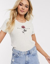 Hollister Cropped T Shirt With Floral Graphic Beige