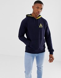 Scotch And Soda Navy Hoodie With Taped Hood Print