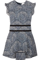 Erdem Michelle Ruffled Floral Jacquard Top Gray