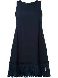 Dondup Fringed Hem Dress Blue