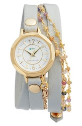La Mer Women's Nolita Leather Wrap Strap Watch 22Mm Stone White Gold