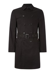 Ben Sherman Double Breasted Twill Trench Coat Black