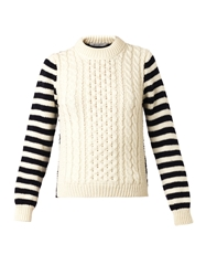 And Daughter Striped Sleeve Aran Knit Sweater