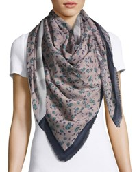Burberry Square Floral Patchwork Scarf Blue