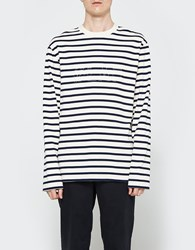Olaf Hussein Striped Ls W Back Print White And Blue