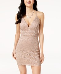 Emerald Sundae Juniors' Zip Back Lace Bodycon Dress Blush