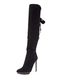 Alexander Mcqueen Suede Lace Up Back Knee Boot Black