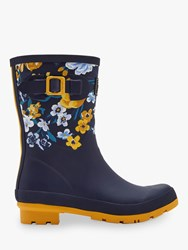Joules Molly Waterproof Mid Wellington Boots Navy Botanical