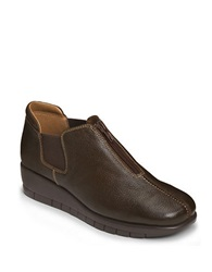 Aerosoles Landfall Leather Wedge Loafers Dark Brown